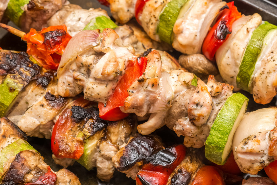 Baked Veggie and Chicken Skewers