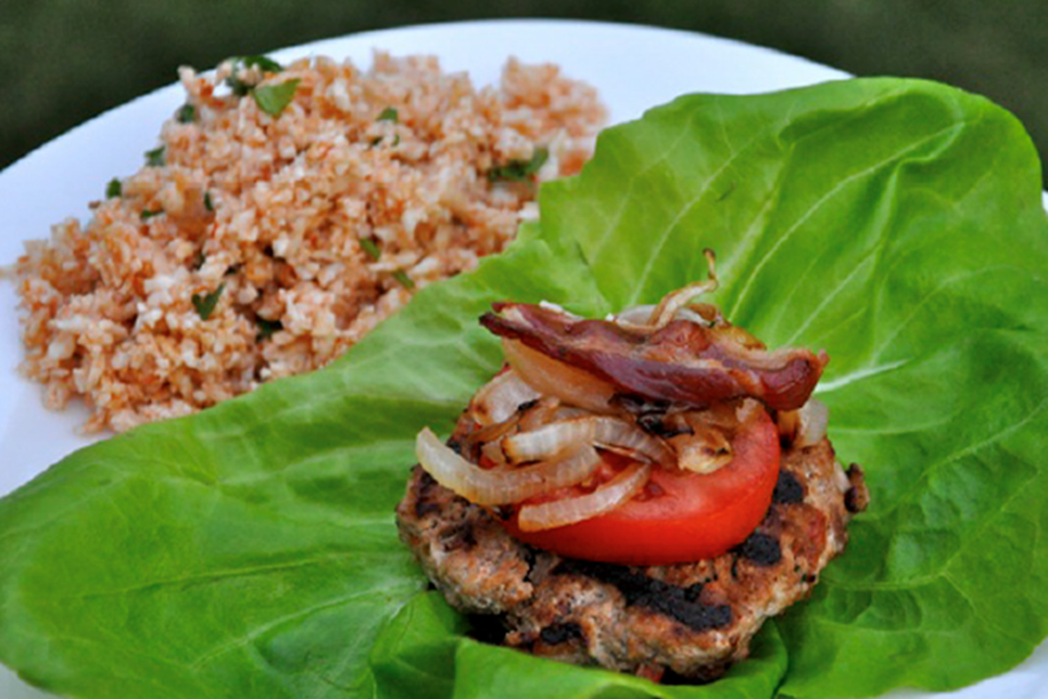 Fully Loaded-Lettuce Wrapped Turkey Bacon Burgers