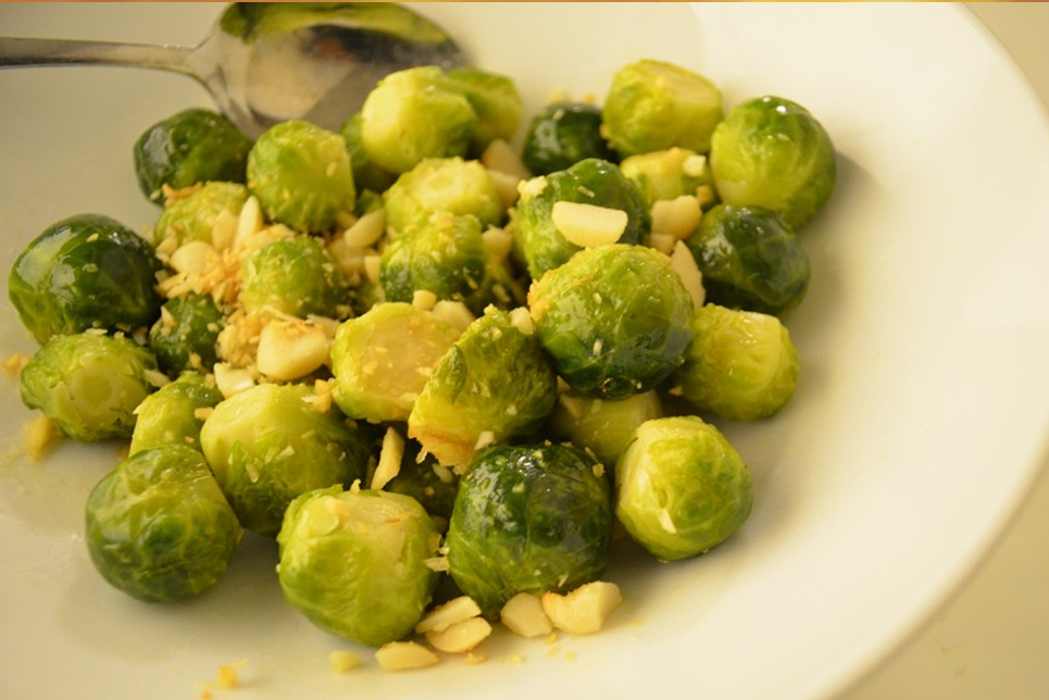 Steamed Brussels Sprouts With Ginger And Almonds